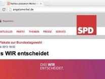 angelamerkel.de Merkel Website Steinbrück SPD