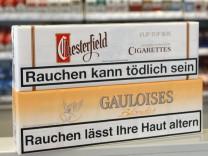 Warnhinweise auf Zigarettenschachteln