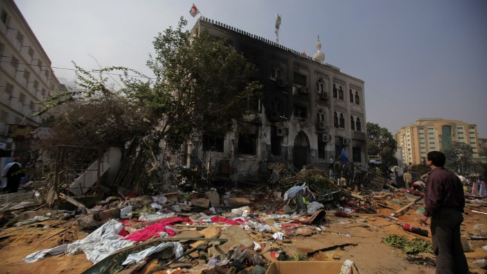 A general view of the Rabaa Adawiya mosque complex after the clearing of a protest camp around the mosque, in Cairo