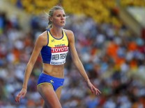 Green Tregaro of Sweden competes during women's high jump final at World Athletics Championships in Moscow