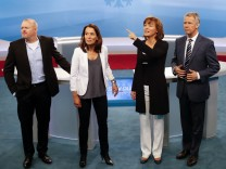 Television anchorman Raab of ProSieben and colleagues Will of ARD, Illner of ZDF and Kloeppel of RTL television channels pose for the media during a preview photocall in Berlin