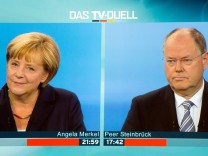 TV Duell Peer Steinbrück Angela Merkel