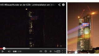 AfD Lichtinstallation EZB Frankfurt