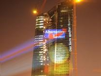AfD Lichtinstallation EZB Frankfurt Wahlkampf