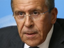 Russia's Foreign Minister Sergei Lavrov speaks during a briefing in Moscow