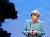 Germany's Chancellor Merkel briefs the media after an informal European Union leaders summit in Brussels