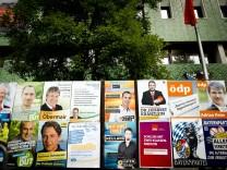 Bruck: Wahlplakatierung in der Haupstrasse / Hauptplatz