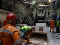 Athens Metro construction workers prepare to operate a Tunnel Bor