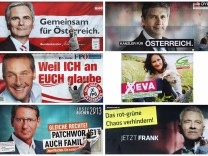 Combination photo shows election posters of Austrian party leaders as they are pasted onto billboards in Vienna