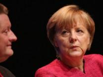 Angela Merkel Campaigns In Berlin