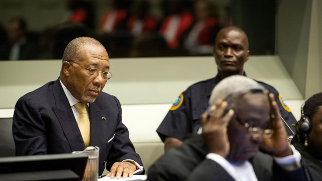 Former Liberian President Charles Taylor appears in court at the Special Court for Sierra Leone for his appeal judgment at The Hague
