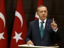 Erdoğan auf einer Pressekonferenz in der türkischen Hauptstadt Ankara.