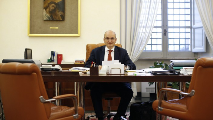 President of the Vatican bank Ernst von Freyberg poses in his office at the Vatican