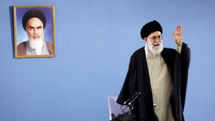 File photo of Iran's Supreme Leader Khamenei gesturing in Tehran