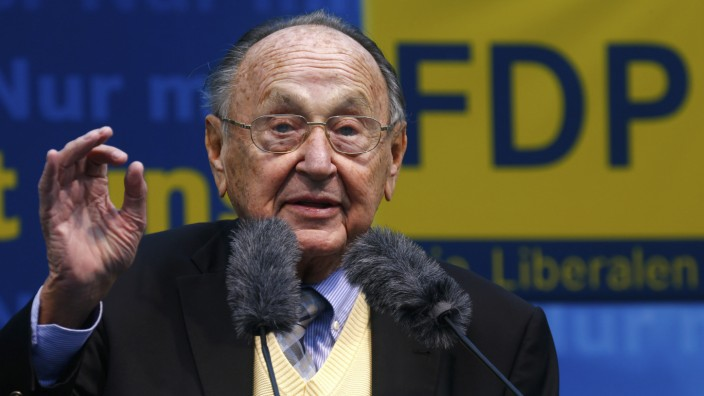 Genscher of the liberal Free Democratic Party (FDP) speaks during an election rally of FDP top candidate for the upcoming general elections, Bruederle, in Frankfurt