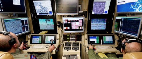 Drone operators fly an MQ-9 Reaper training mission at Holloman Air Force Base, New Mexico