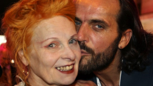British designer Vivienne Westwood is kissed by her husband Andreas Kronthaler before the opening of a Vivienne Westwood Boutique in downtown Beirut
