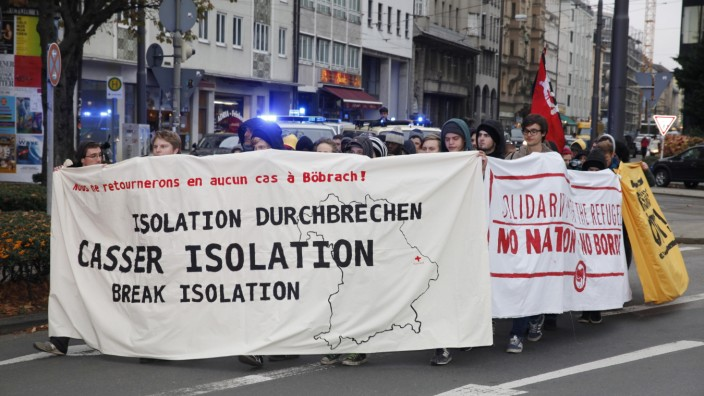 Demonstration von Flüchtlingen und ihren Unterstützern in München