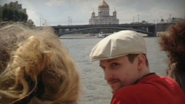 Still image taken from video shows a man, named NSA whistleblower Edward Snowden, in front of the Christ the Saviour Cathedral in central Moscow
