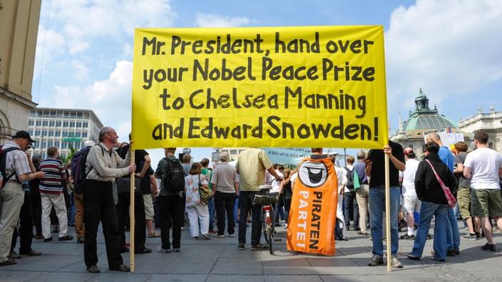 Protest gegen Überwachung durch die NSA in München, 2013
