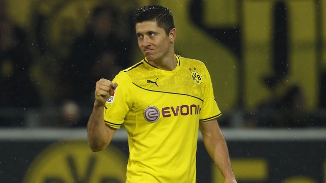 Borussia Dortmund's Lewandowski celebrates a goal against Stuttgart during the German first division Bundesliga soccer match in Dortmund