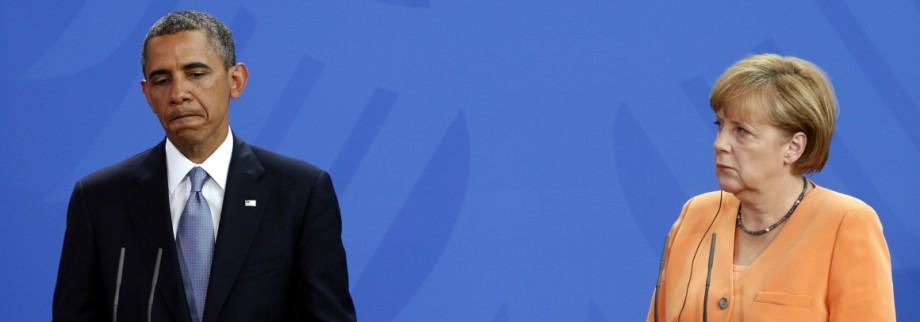 File photo of U.S. President Obama and German Chancellor Merkel