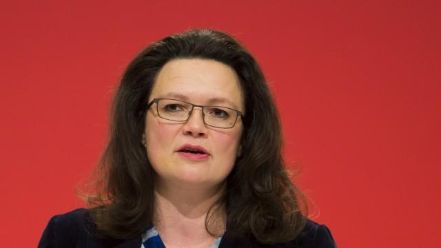 SPD Secretary General Nahles attends SPD party congress in Leipzig