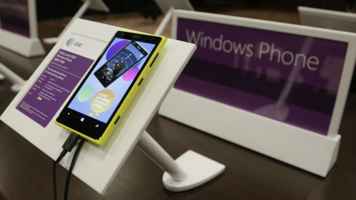 Windows Nokia Phone is seen on display at Microsoft's annual shareholder meeting in Bellevue