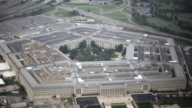 An aerial view of the United States military headquarters is shown from the air