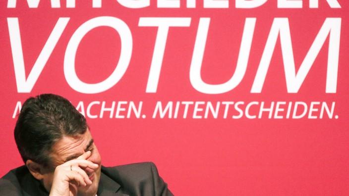 Der Parteivorsitzende Sigmar Gabriel auf einer Regionalkonferenz der SPD in Hamburg.