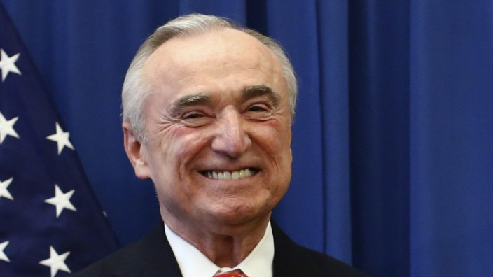 Veteran police chief Bill Bratton smiles as he attends a news conference in Brooklyn