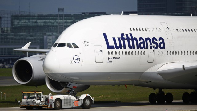 A Lufthansa A380-800 Airbus is parked at Fraport airport in Frankfurt
