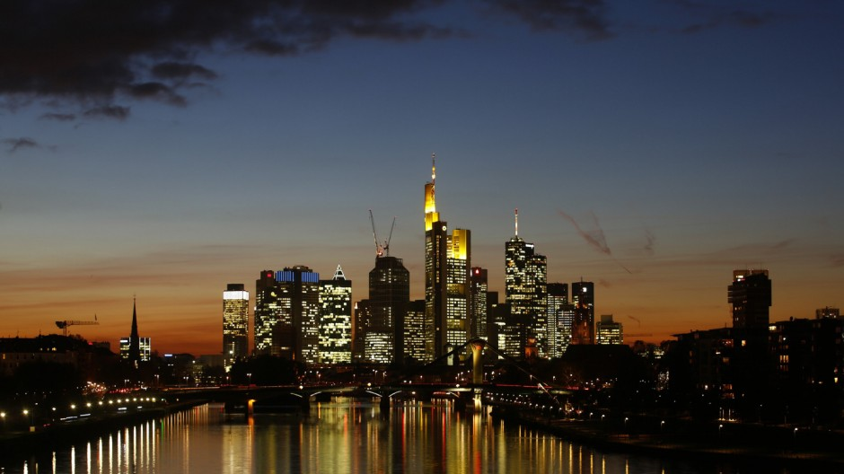Characteristic skyline of Frankfurt with its banking towers is photographed in Frankfurt
