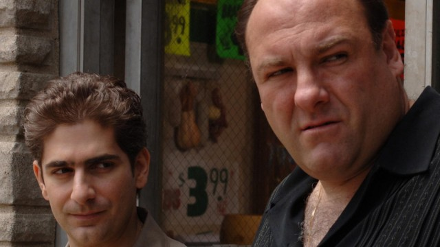 Publicity photo shows actor Gandolfini portraying character Soprano in scene from HBO drama cable television series 'The Sopranos', along with co-star Imperioli who plays character Moltisanti