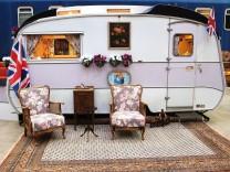 Ein Wohnwagen im BaseCamp Bonn