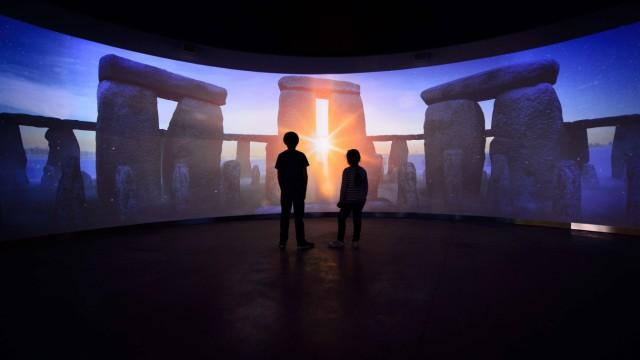 Stonehenge Bild im neuen Besucherzentrum im Südwesten Englands nahe Amesbury