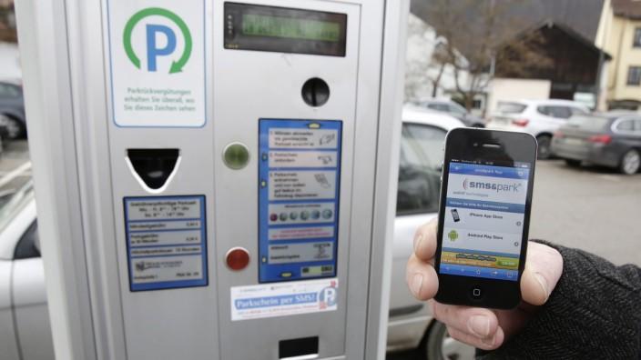 SMS-Ticket, Parken, Parkplatz, Auto, Handy