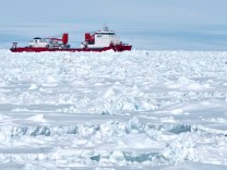 Chinese icebreaker cruising through iced water