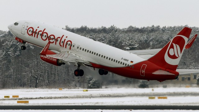 A German carrier Air Berlin aircraft takes off at Tegel airport in Berlin