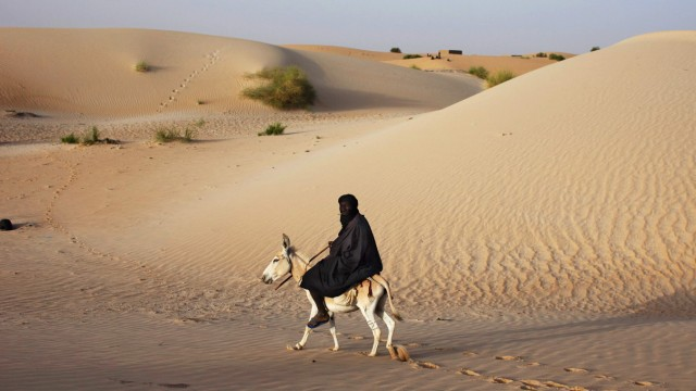 A herder rides a donkey next to sand dunes on the outskirts of Timbuktu