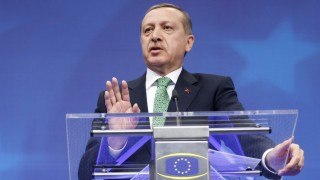 Turkey's PM Erdogan addresses a news conference after meeting EU Council President Van Rompuy and EU Commission President Barroso in Brussels
