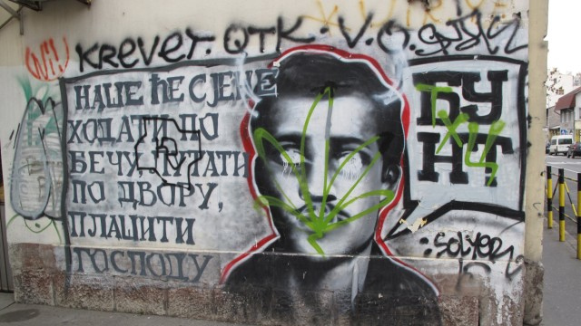 Gavrilo Princip als Graffiti Serbien Sarajevo