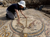 Archaeological excavation in Alum where Byzantine church mosaic f