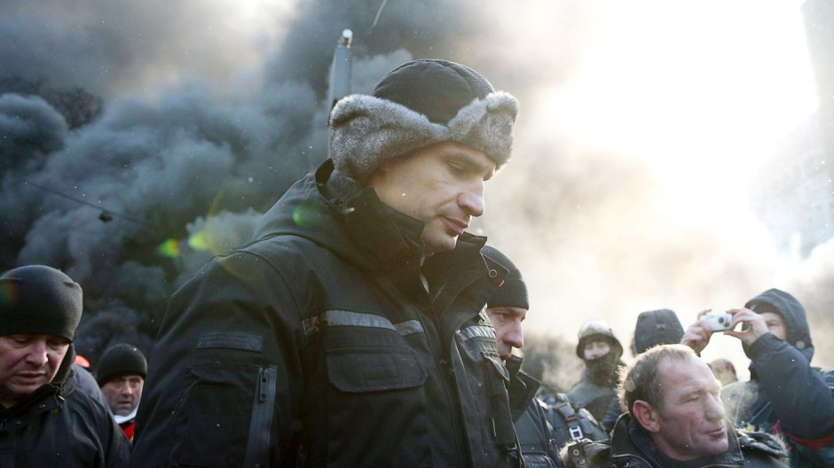 ITAR TASS KIEV UKRAINE JANUARY 23 2014 Udar party leader Vitali Klitschko is among opposition d
