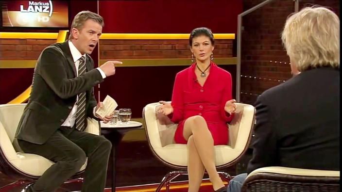 Markus Lanz und Sahra Wagenknecht im ZDF