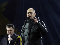 Opposition leaders attend a pro-European integration rally in Independence square in Kiev