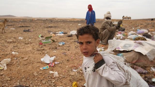 Müllhalde aus Plastik in Marokko