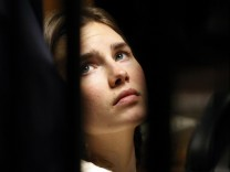 File photo of Amanda Knox, the U.S. student convicted of killing her British flatmate in Italy in 2007, during a trial session in Perugia