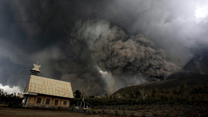 Sinabung Volcano Eruption in Karo