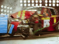 A car is frontal-crashing during a test at the laboratory of the German motor club ADAC in Landsberg am Lech